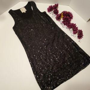 Pink Rose Black Sequenced Sleeveless Dress